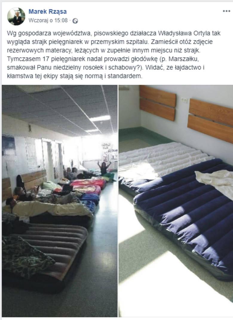Zaostrza się sytuacja w Wojewódzkim Szpitalu w Przemyślu. Dzisiaj obradowali w nim członkowie sejmowej i senackiej komisji zdrowia. Nz. post posła Marka Rząsy z Przemyśla, przedstawiający zdjęcie marszałka Ortyla i fotografia prawdziwego miejsce protestu pielęgniarek.
