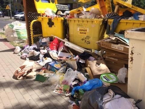 - Taki widok mam z balkonu - napisała do nas Czytelniczka z ul. Młodzieżowej 19-25 w Toruniu załączając zdjęcia przepełnionych śmietników i walających
