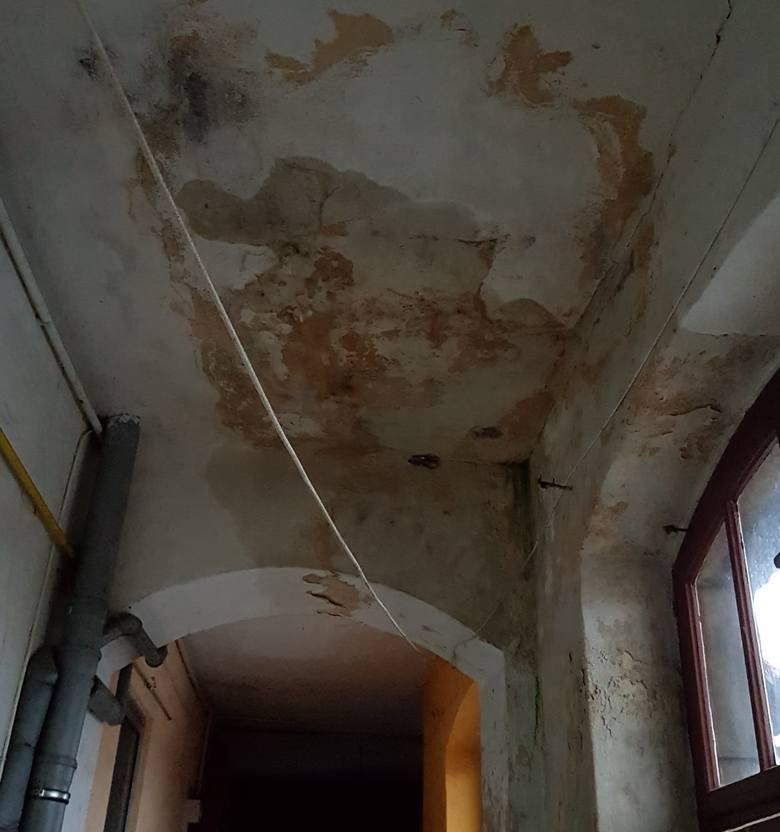 W kamienicy przy ul. Konopnickiej po ostatniej ulewie woda z sufitu lała się ciurkiem. Ale remontu wymaga nie tylko dach