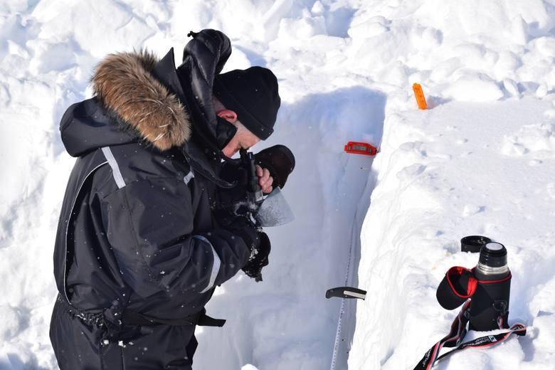 Pomiary w profilu śniegowym (Spitsbergen)