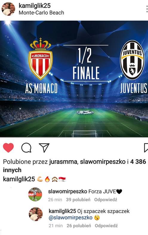 Sławomir Peszko wbija szpilkę Kamilowi Glikowi na Instagramie