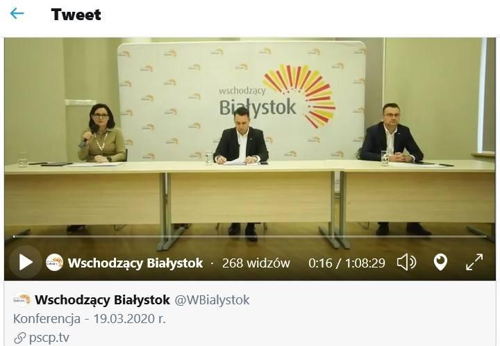 19.03,2020. Konferencja online wiceprezydentów Białegostoku Przemysława Tuchlińskiego i Rafała Rudnickiego