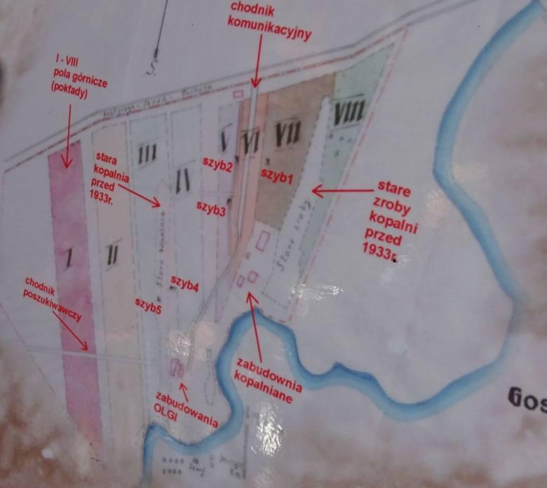 Plan terenów kopalnianych w Pile nad Brdą