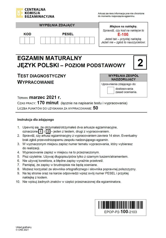 Matura próbna z polskiego 3.03.2021. ODPOWIEDZI - materiał będzie aktualizowany>>>Matura próbna z polskiego na poziomie podstawowym