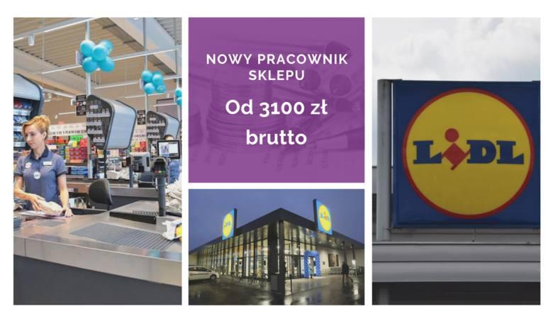 Nowy pracownik sklepu otrzymuje od 3100 zł do 3850 zł brutto. Różnice wynikają z lokalizacji sklepu.