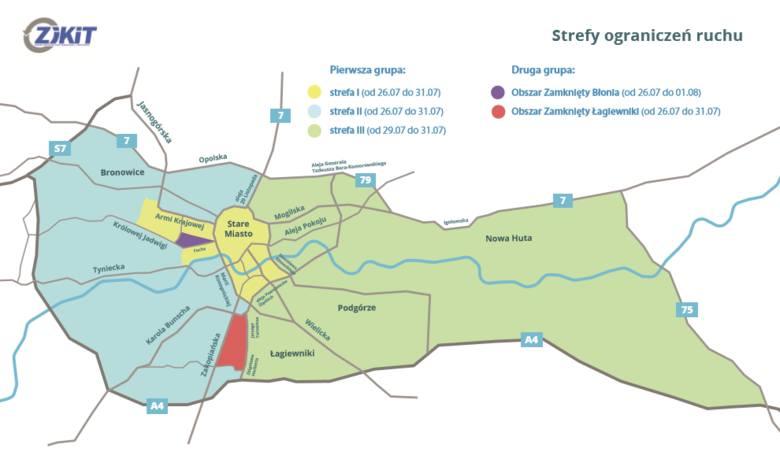 Kraków podzielony na kilka stref