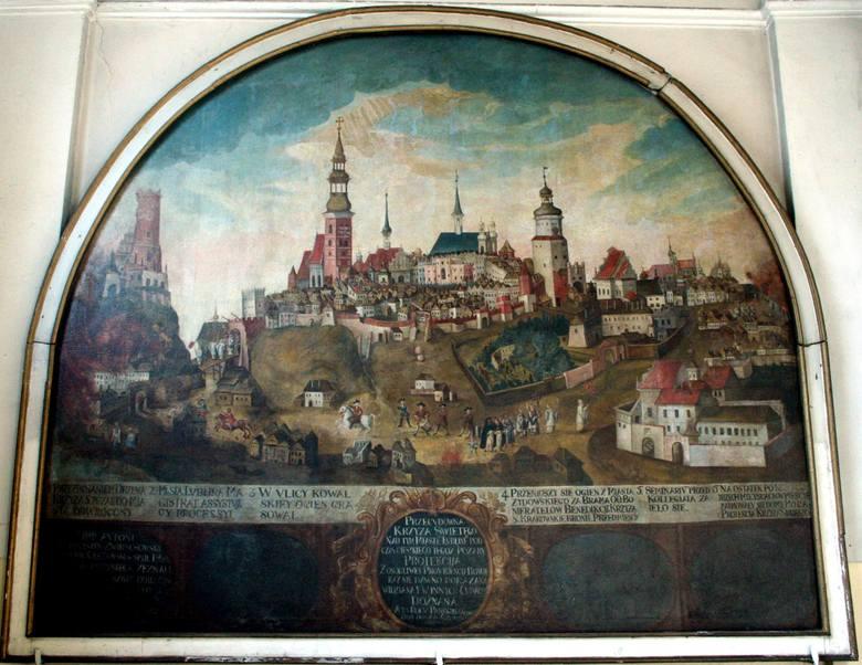 """Obraz """"Pożar miasta Lublina"""" z bazyliki oo. Dominikanów upamiętnia wydarzenie z 1719 r., ale został namalowany ok. 1740 r.<br />"""