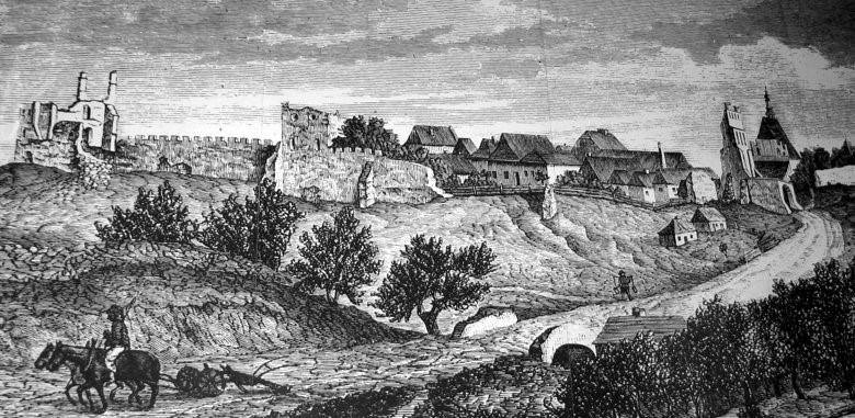 """Panorama Szydłowa odstrony południowo-zachodniej 1869 r. zwidocznymi fragmentami sadów owocowych, Czasopismo """"Kłosy"""", 1869 r. Replikę"""