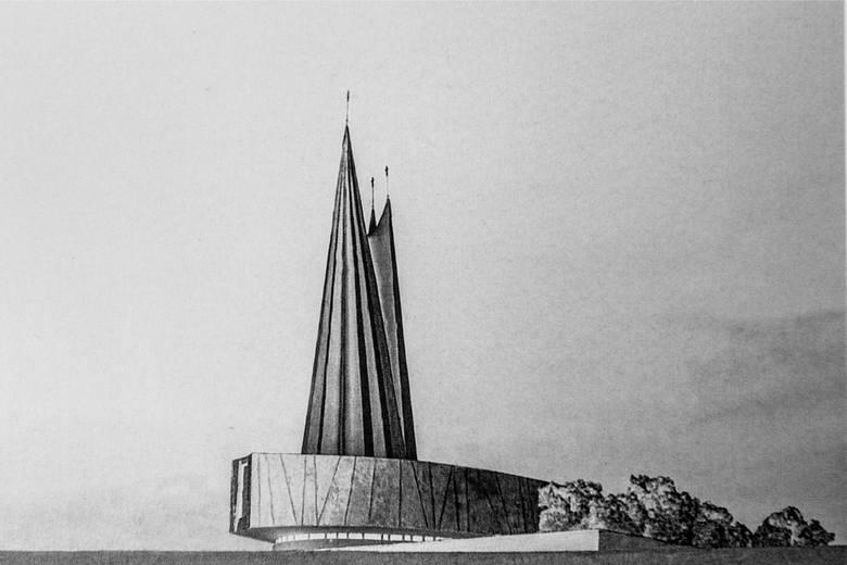Niezrealizowany projekt kościoła na osiedlu C1 autorstwa Zbigniewa Solawy.