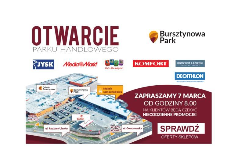Otwarcie Bursztynowa Park: jakie promocje dla klientów? Sprawdź oferty Decathlon, Media Markt, Jysk, Smyk, Komfort i Komfort Łazienki
