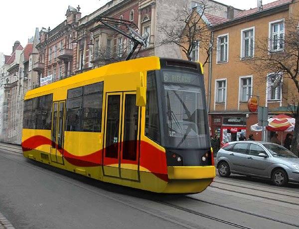 Komputerowa wizualizacja tramwaju bydgoskiej Pasy, który miał jeździć po Warszawie