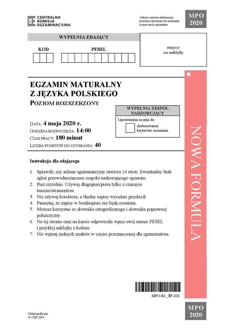 Zobacz arkusz z matury 2020 z języka polskiego na poziomie rozszerzonym oraz prawidłowe odpowiedzi.Uwaga, nasi eksperci na bieżąco dodają kolejne odpowiedzi
