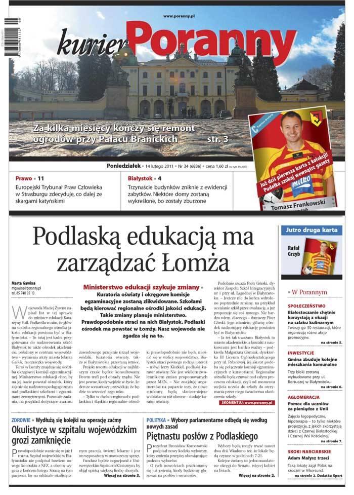 W papierowym wydaniu Kuriera Porannego z 14 lutego 2011 roku polecamy: