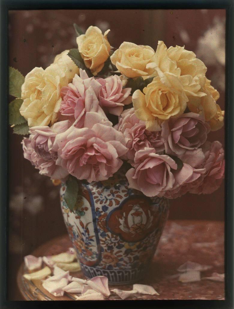 Autor nieznany, Bukiet róż w chińskiej porcelanowej wazie
