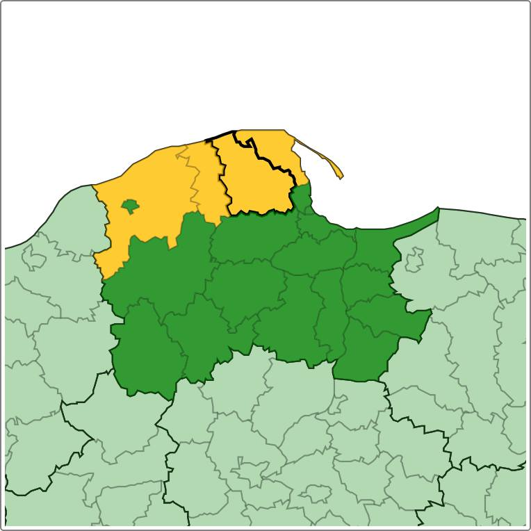 Obszary zaznaczone na żółto są objęte ostrzeżeniem IMGW.