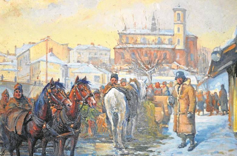 Gorlicki targ podczas okupacji niemieckiej. Obraz pochodzi ze zbiorów muzeum Polskiego Towarzystwa Turystyczno-Krajoznawczego