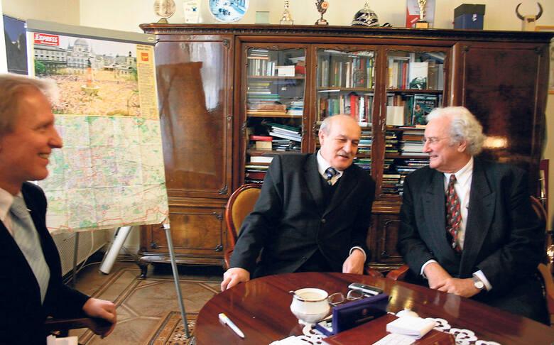 Prezydent Jerzy Kropiwnicki w rozmowie z Robem Krierem, wybitnym architektem
