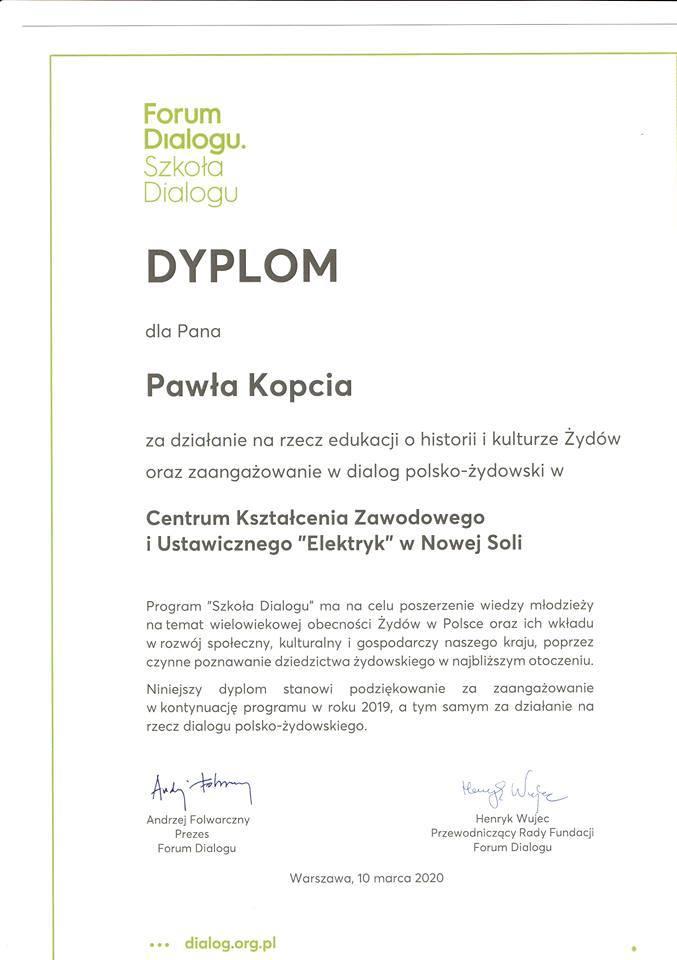 """Projekt realizowany w nowosolskim CKZiU """"Elektryk"""" został doceniony w Warszawie."""