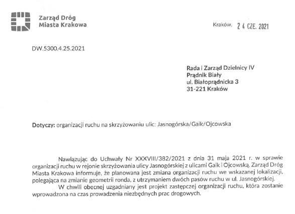 Odpowiedź ZDMK ws. ronda na Jasnogórskiej