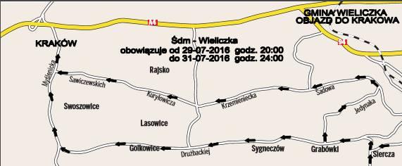 W ostatni weekend lipca z Wieliczki do Krakowa można będzie dostać się tylko  drogami objazdowymi<br />