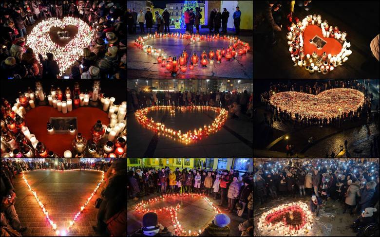 """Akcja """"Światełko do nieba - Największe serce świata"""" odbyła się w miastach całego kraju. W ten sposób Polacy oddali hołd zamordowanemu"""
