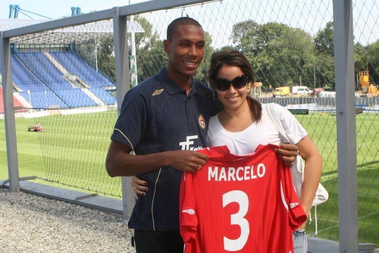 01.09.2008, Kraków: Marcelo i jego narzeczona Tatiana na stadionie Wisły