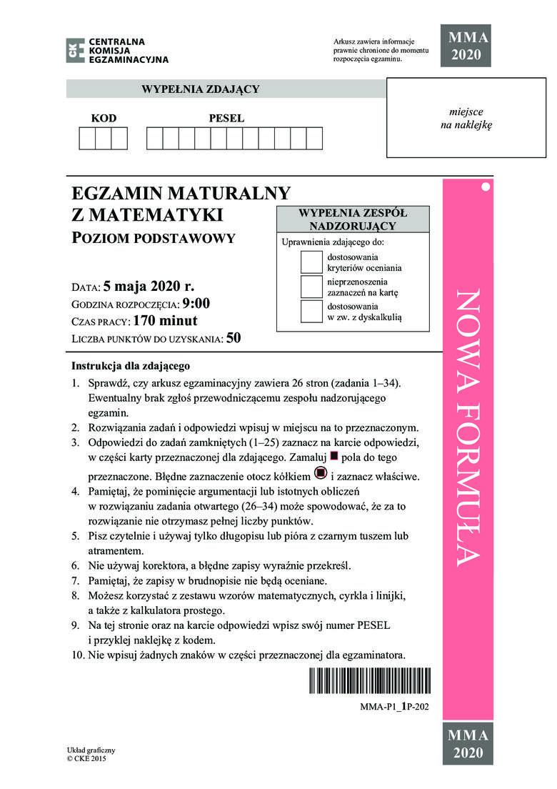 Zobacz zadania i odpowiedzi do arkusza z matury 2020 z matematyki na poziomie podstawowym. Zobacz arkusz i odpowiedzi ---->