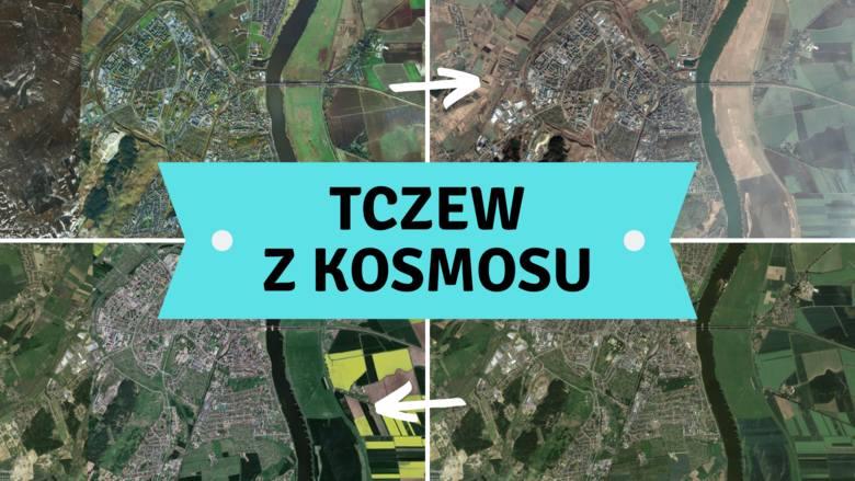 Tczew widziany z kosmosu! Co widać? Zobaczcie, jak zmieniało się miasto. Niecodzienna perspektywa!