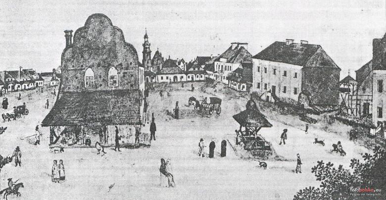 """1808 , Radomski rynek na rysunku z 1808 r. (Zdjęcie pochodzi z pisma """"Spotkania z Zabytkami"""" nr 1 (83) 1994)ZOBACZ TEŻ: Jak wyglądało"""
