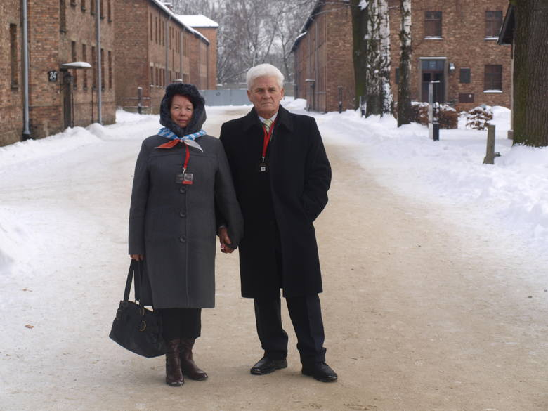 Stefania Wernik z mężem Janem w Muzeum Auschwitz-Birkenau podczas obchodów wyzwolenia obozu
