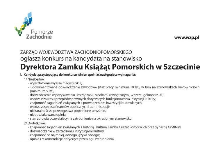 Konkurs na Dyrektora Zamku Książąt Pomorskich