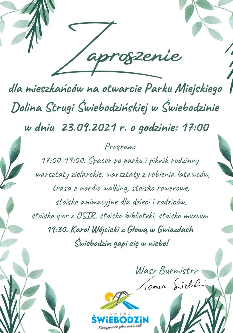 W czwartek (23 września) Park Miejski Dolina Strugi Świebodzińskiej zostanie otwarty.