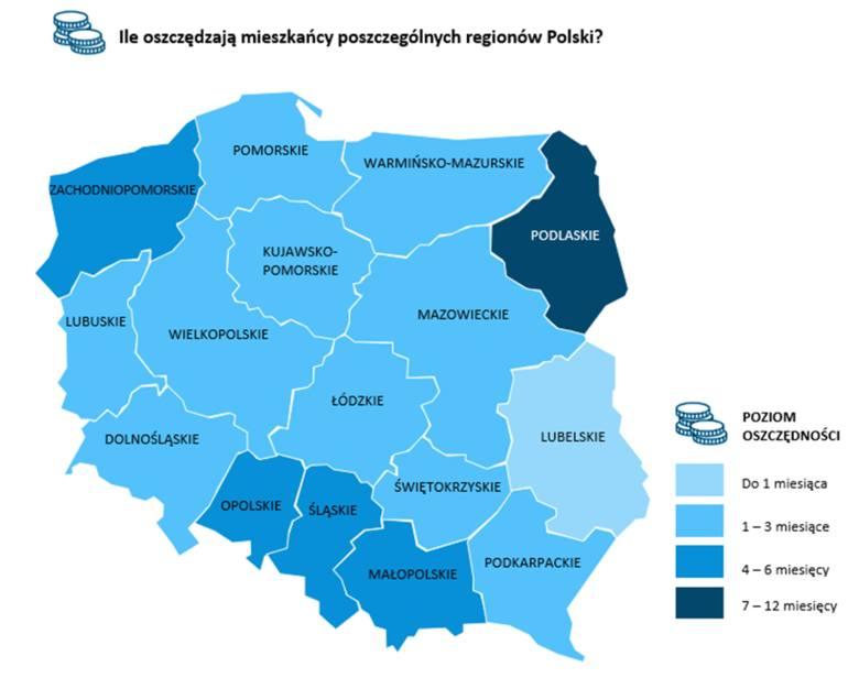 Oszczędności Polaków 2020. Najbardziej systematycznie odkładają pieniądze na Opolszczyźnie, najwięcej pieniędzy zgromadzili na Podlasiu