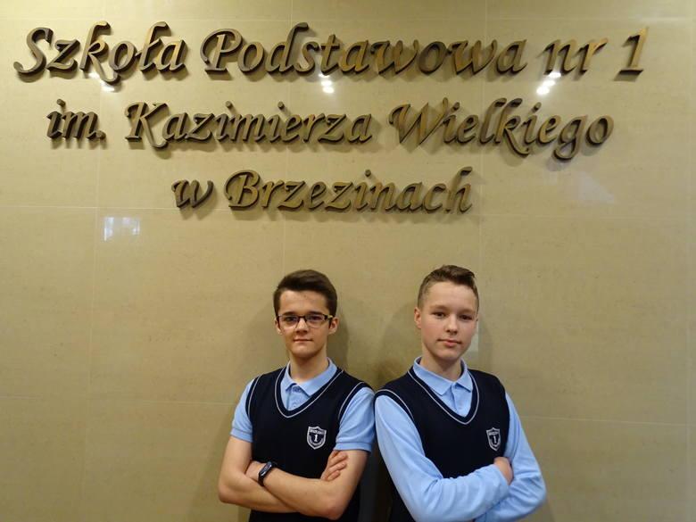Adam Dejda i Marcel Zieliński z SP 1 w Brzezinach laureatami Wojewódzkich Konkursów Przedmiotowych
