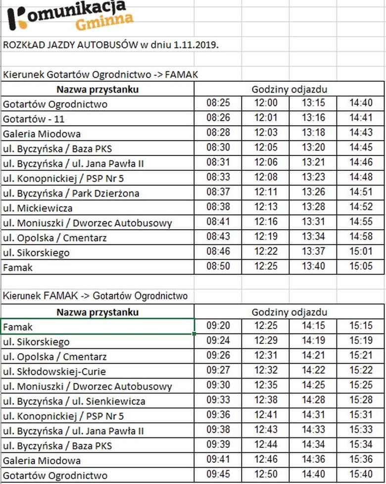 Rozkład jazdy Komunikacji Gminnej w Kluczborku 1 listopada.