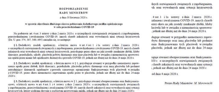 Rozporządzenie Rady Ministrów w Dzienniku Ustaw