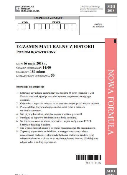 W środę 16 maja o godzinie 14 maturzyści rozpoczęli egzamin z historii. Zobaczcie arkusz matura 2018 z historii. Matura 2018 w Zespole Szkół im. ks.
