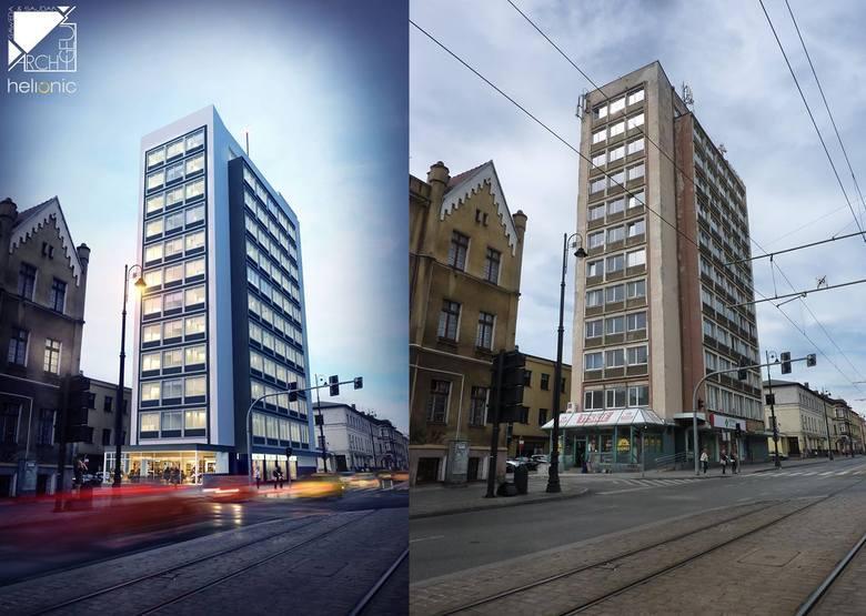 """Tak wygląda, a tak będzie wyglądał po remoncie, wieżowiec dawnej """"Eltry"""" w Bydgoszczy"""