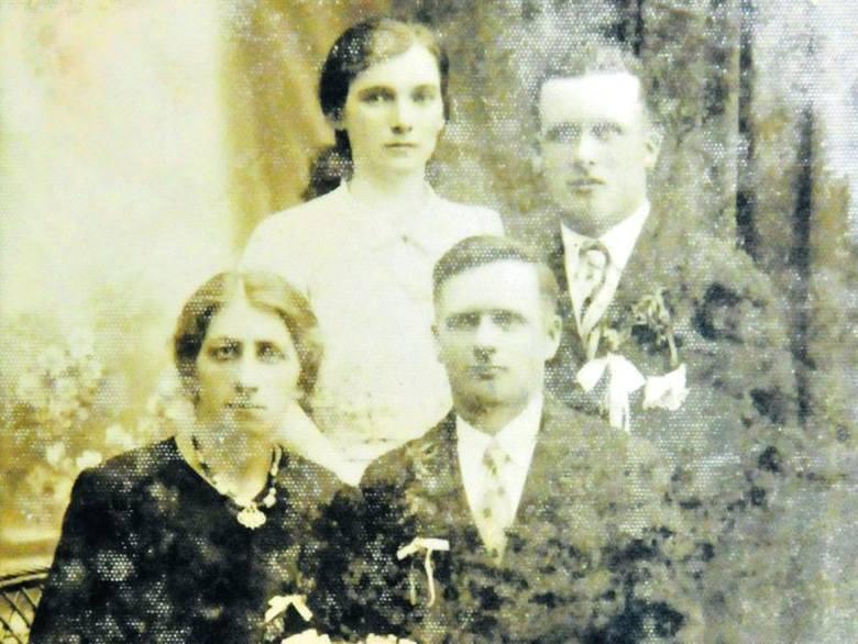Edward Gryglicki z żoną Katarzyną i świadkowie Władysław Gryglicki z Barbarą Borutą