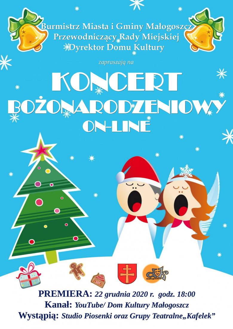 Plakat z zaproszeniem na Koncert Bożonarodzeniowy.