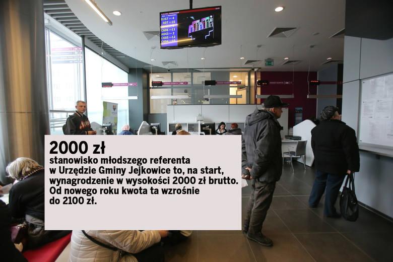 2000 zł – stanowisko młodszego referenta w Urzędzie Gminy Jejkowice to, na start, wynagrodzenie w wysokości 2000 zł brutto. Od nowego roku kwota ta wzrośnie