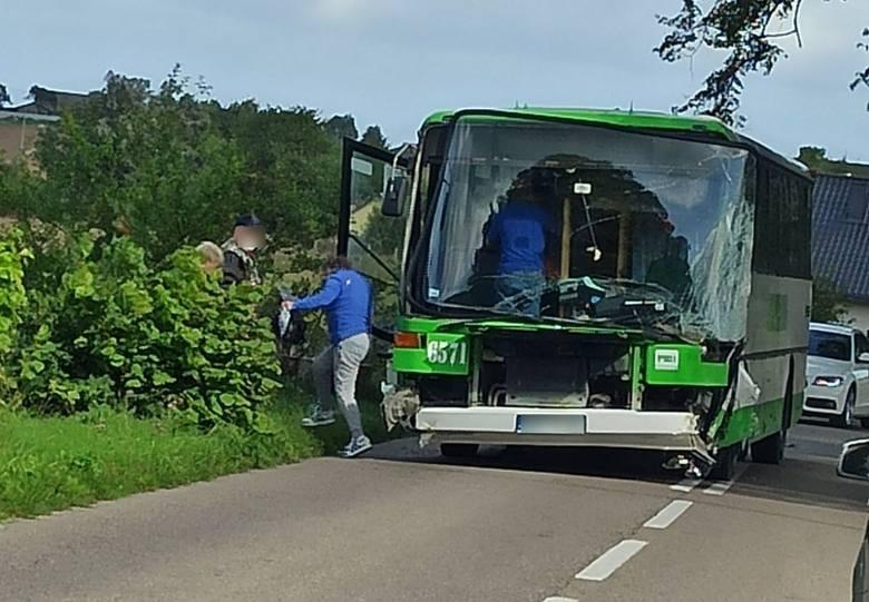 Wypadek autobusu PKS Gdynia na trasie Darzlubie - Leśniewo 10.09.2020. Pojazd wyleciał z drogi, w środku było 15 osób [zdjęcia]