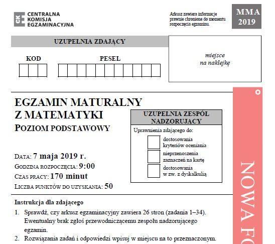 MATURA 2019 MATEMATYKA ODPOWIEDZI NOWA FORMUŁA. Matura z matematyki - poziom podstawowy 7.05.2019 - arkusz CKE, zadania, rozwiązania
