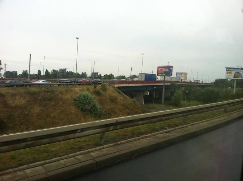 Korek na moście Pionierów w Szczecinie