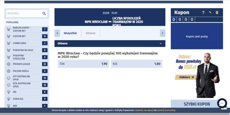 Liczbę wykolejeń tramwajów we Wrocławiu... obstawisz u bukmachera
