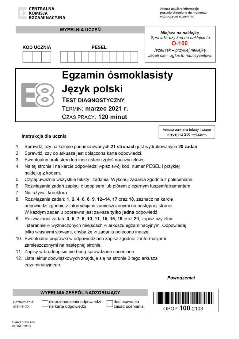 Próbny egzamin ósmoklasisty 2021: język polskiPróbny egzamin ósmoklasisty z polskiego - ODPOWIEDZI >>>Odpowiedzi pojawią się po