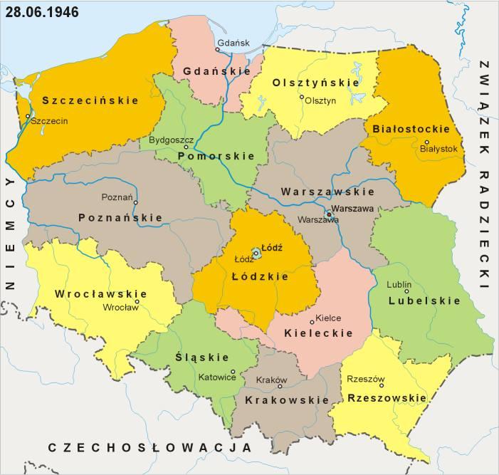 """Pierwszym aktem prawnym, który dotyczył nowego podziału administracyjnego był dekret Polskiego Komitetu Wyzwolenia Narodowego z 1944 r. """"O trybie powołania"""