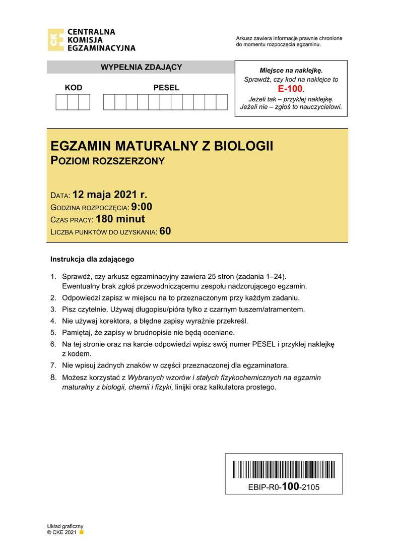Matura z biologii na poziomie rozszerzonym odbędzie się 12 maja 2021 roku. Sprawdź odpowiedzi, wyniki i arkusze CKE. Kolejne odpowiedzi--->