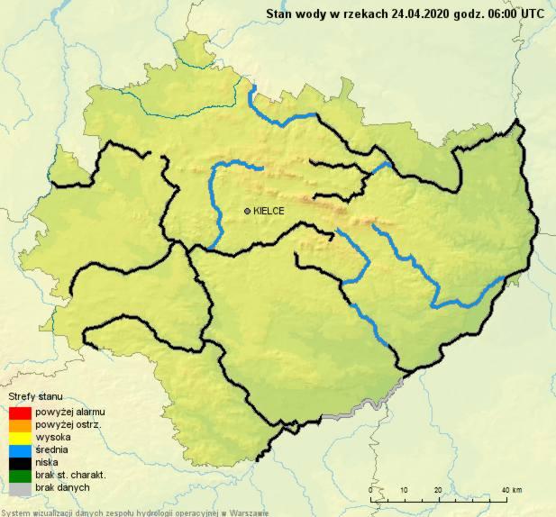 Stan sieci rzek w województwie świętokrzyskim na 24 kwietnia 2020 roku.