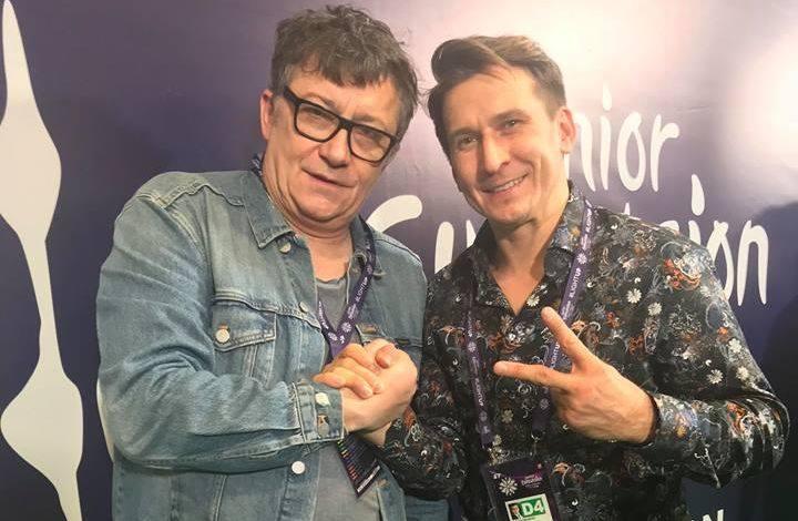 Konrad Smuga i Tomasz Barański. Zdjęcie zrobione podczas niedzielnego konkursu Eurowizji. Na następnych slajdach sylwetki obydwu artystów.